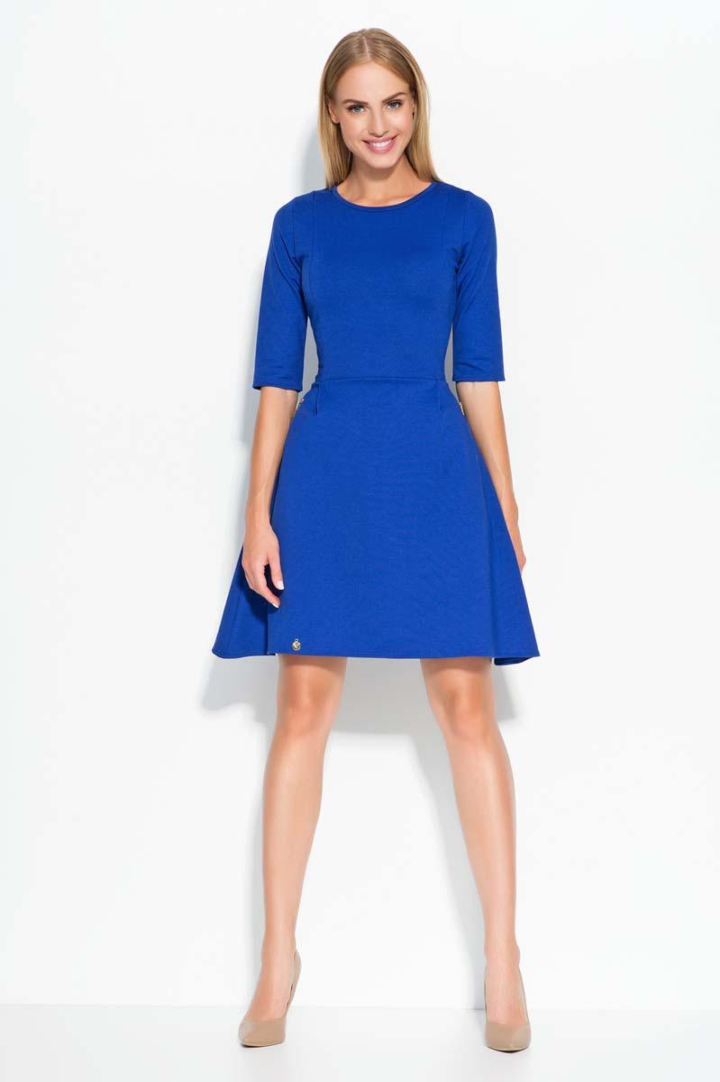 Blue Flared 3/4 Sleeves Knee Length Dress
