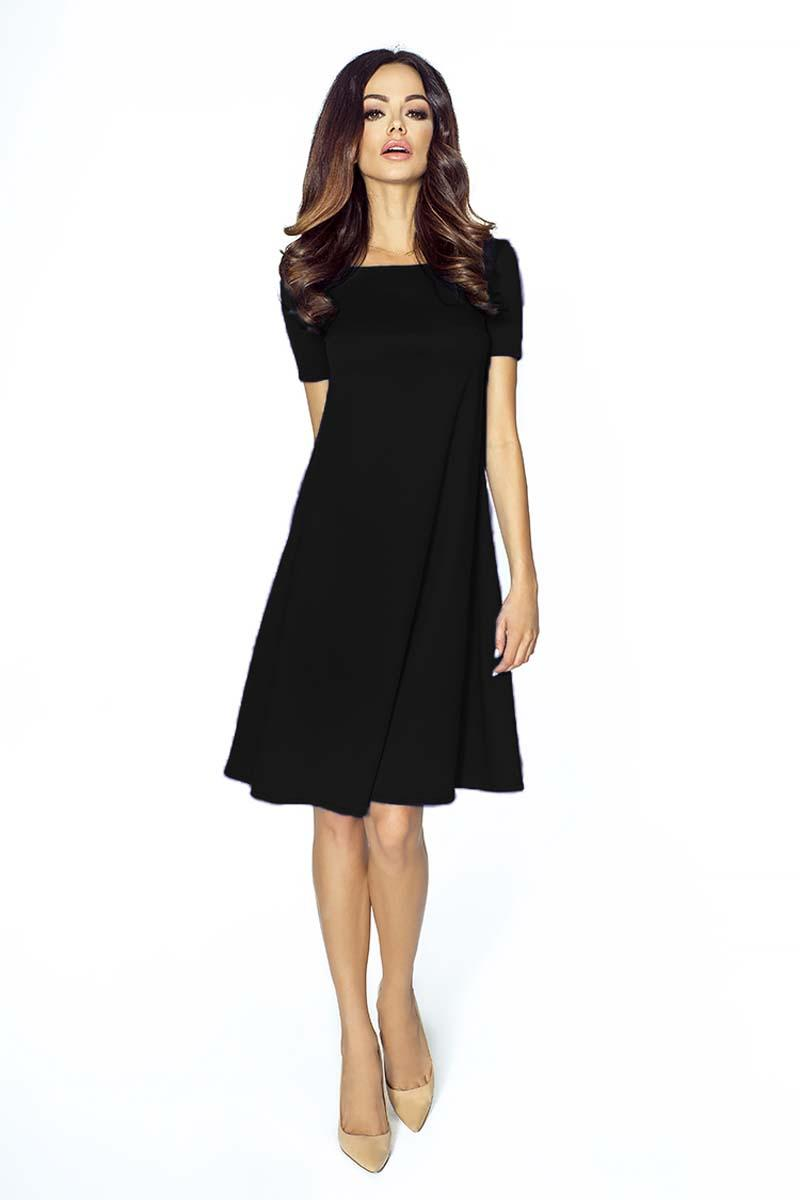 Black Flared Short Sleeves Dress