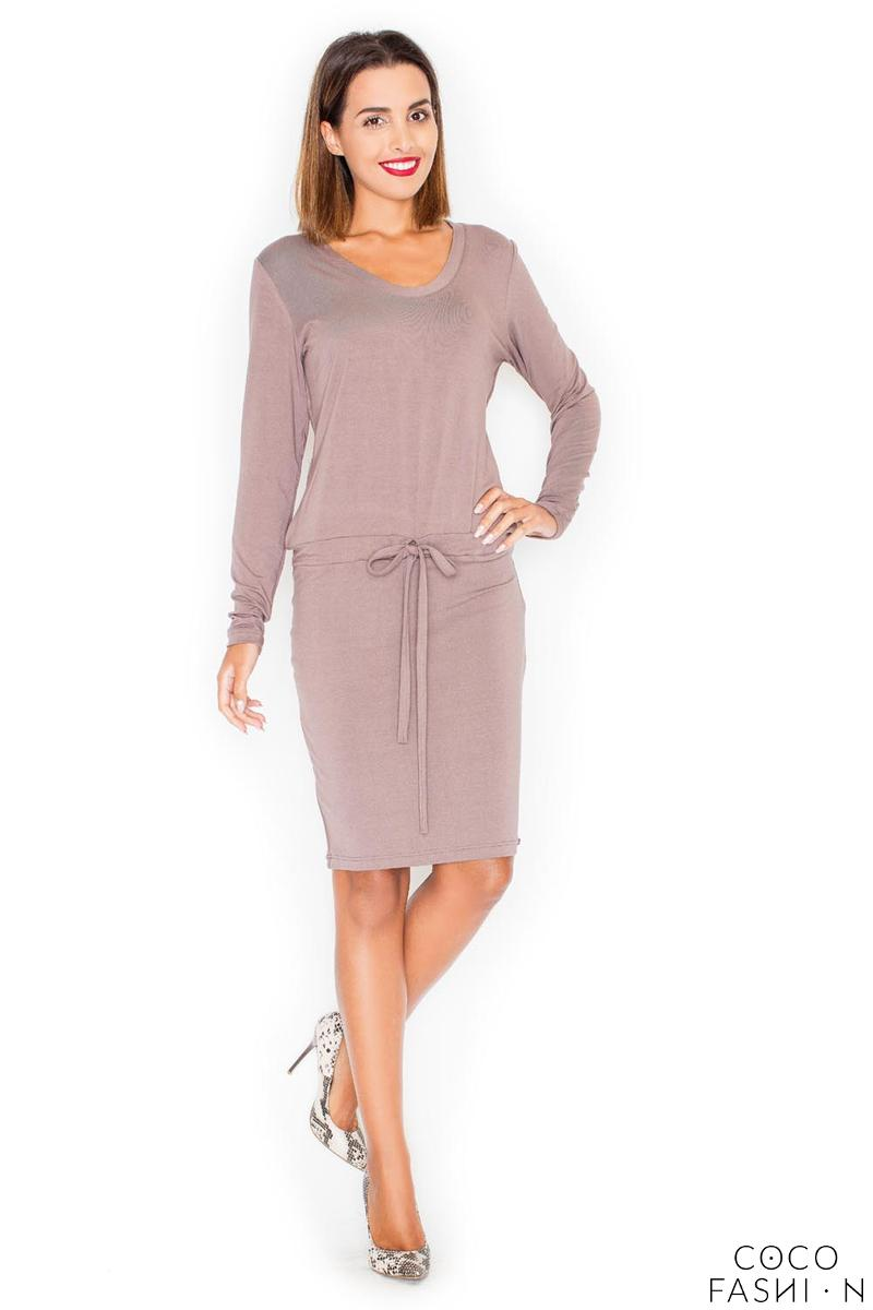 Beige Casual Long Sleeves Drawstring Waist Dress