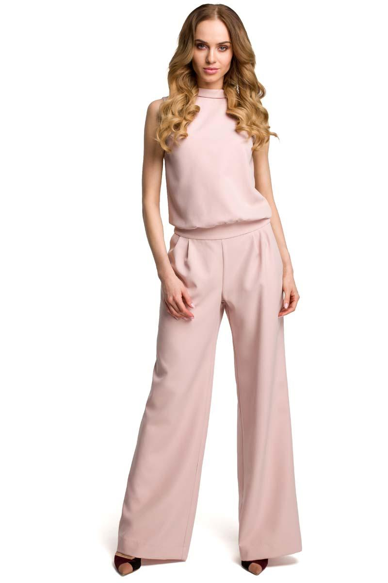 Powder Pink Collared Sleeveless Jumpsuit