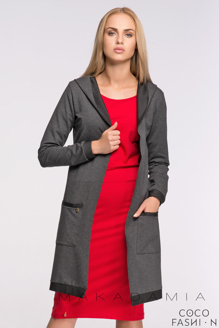 Dark Grey Long Hooded Cardigan with Pockets
