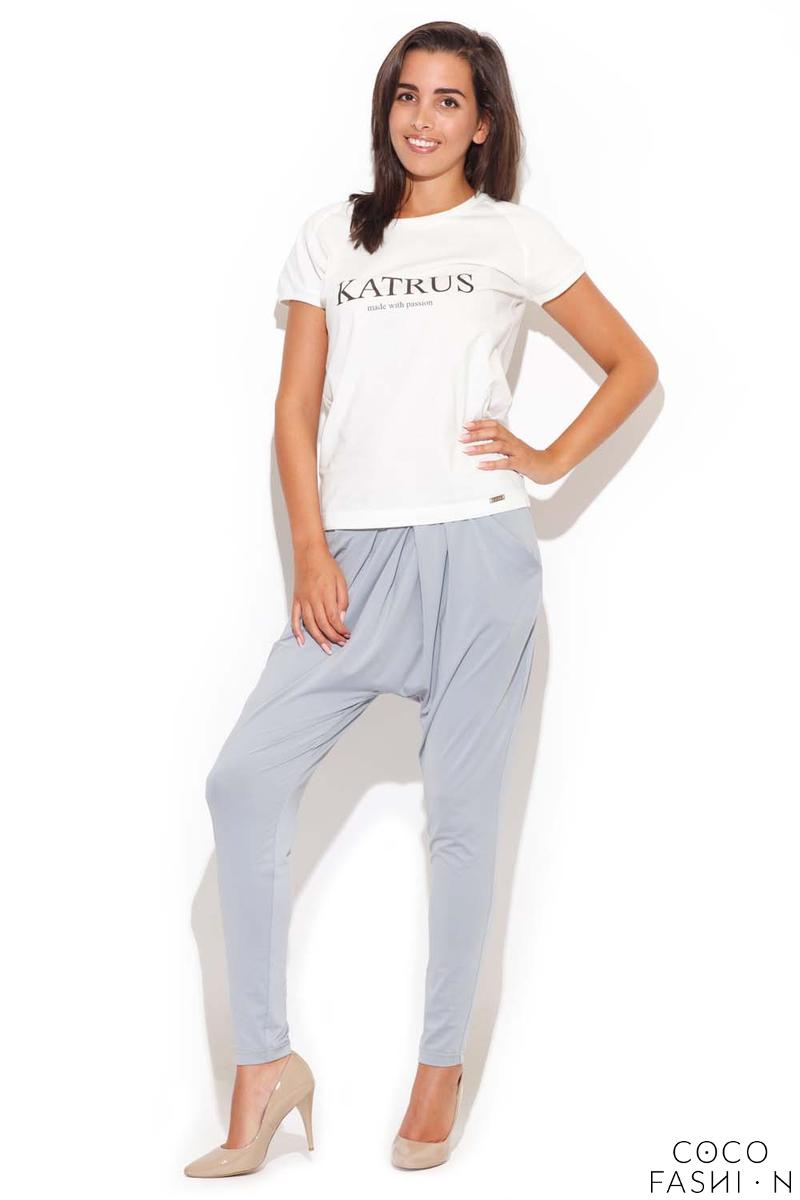 Drop Crotch Stretch Pleated Grey Pants