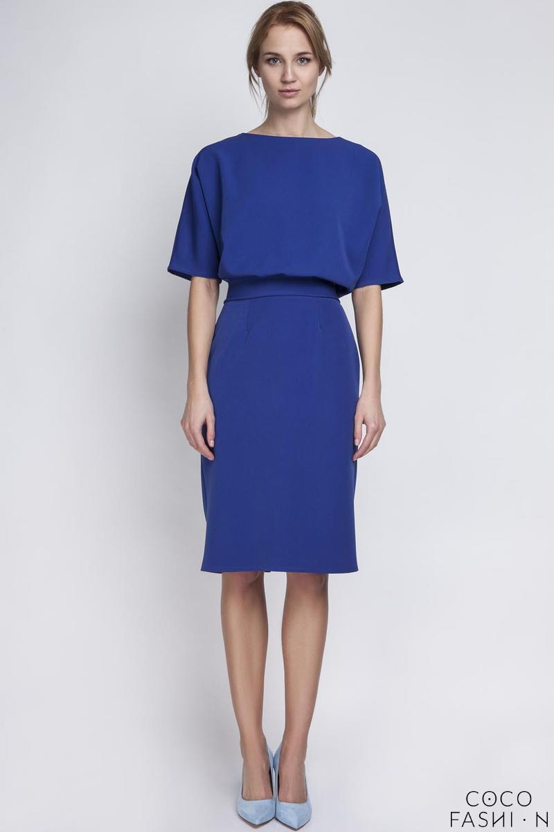 Indigo Blue Elegant Pencil Skirt 1/2 Sleeves Dress