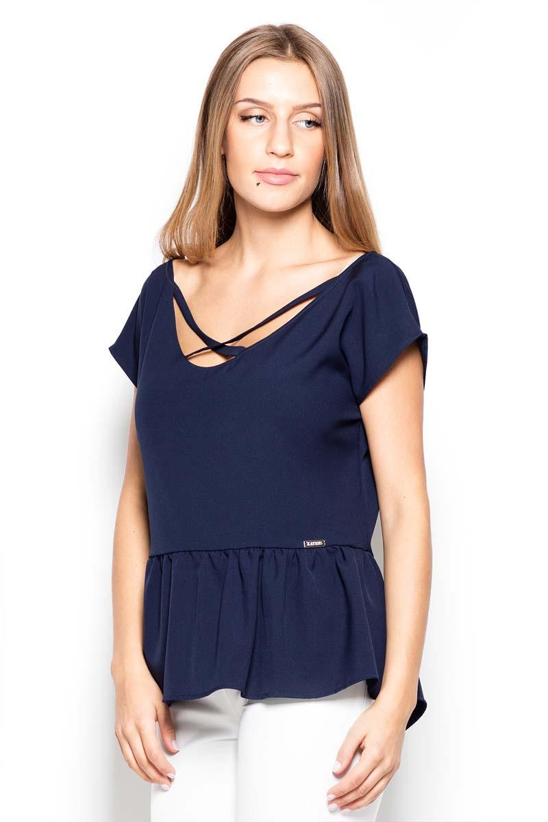 Dark Blue Short Sleeves Blouse with a Peplum