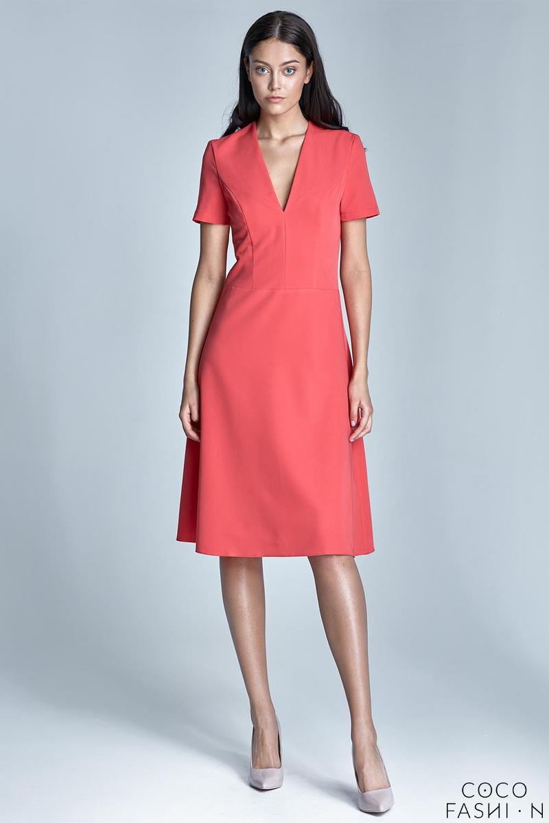 Coral Elegant V-Neck Midi Dress