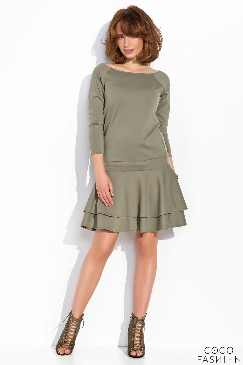Green Light Pleats Mini Casual Dress