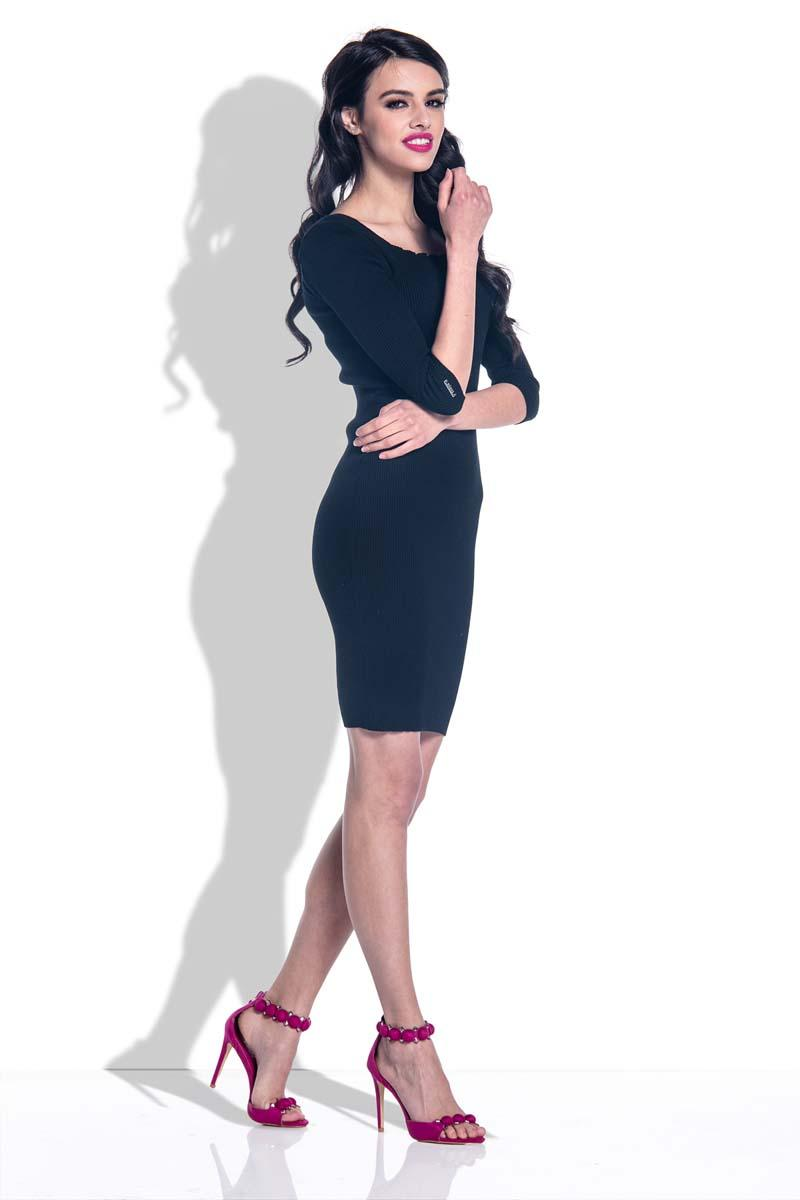 Black Knitted Bodycon Dress