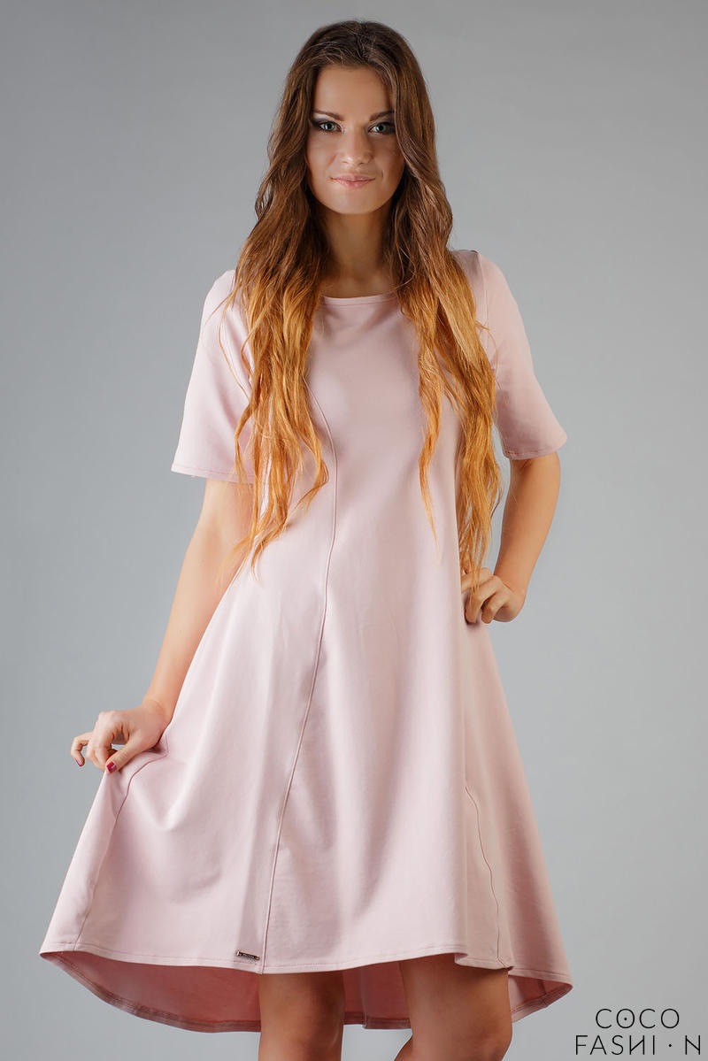 Dirty Pink High Fad Dress with Dipped Hem