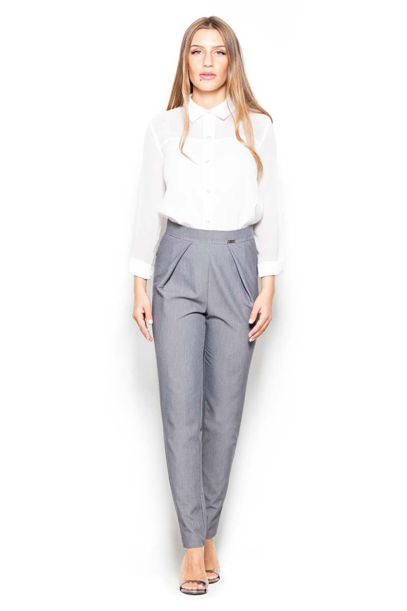 Grey Tapered Legs High Rise Pants