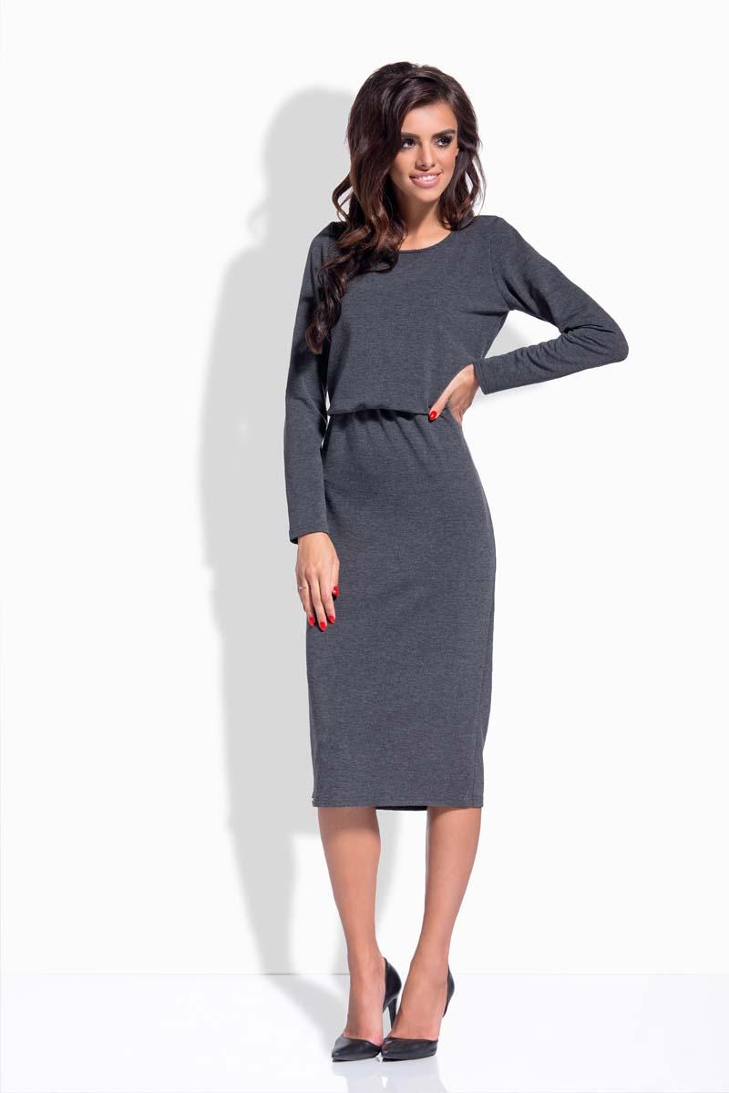 Dark Grey Elastic Waist Pencil Dress