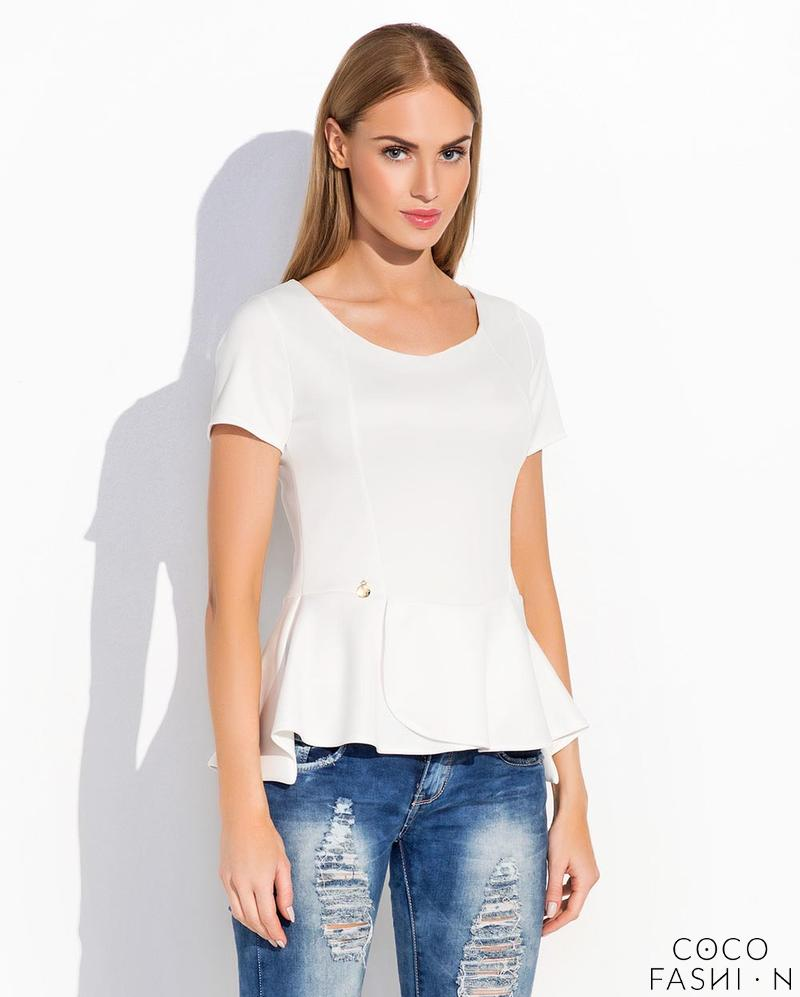 White Short Sleeves Peplum Chic Blouse