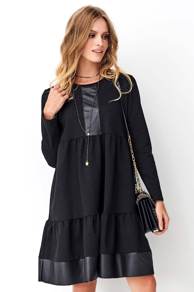 Expanded Black Dress with Eco-leather