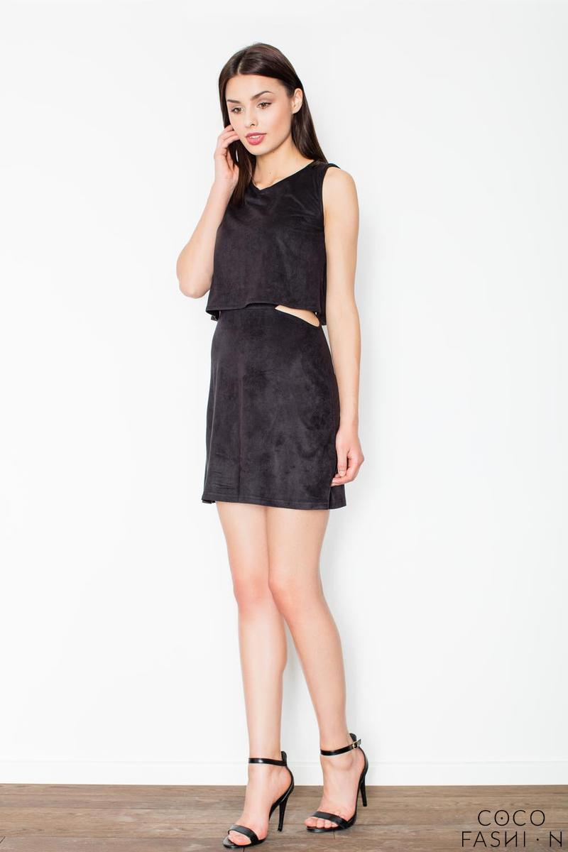 Black Unique Cut Out Waist Mini Dress