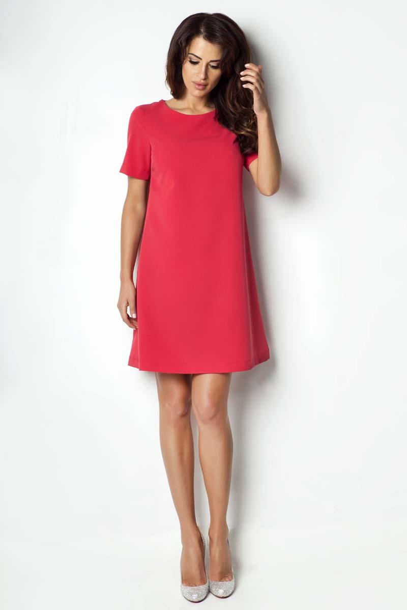 Red Flared Classic Short Sleeves Dress