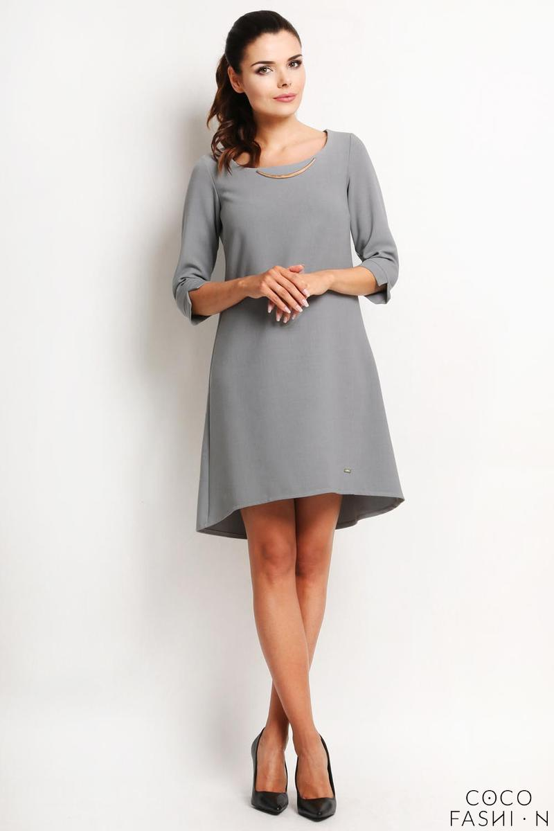 Grey A-Line Asymetrical Longer Back Dress