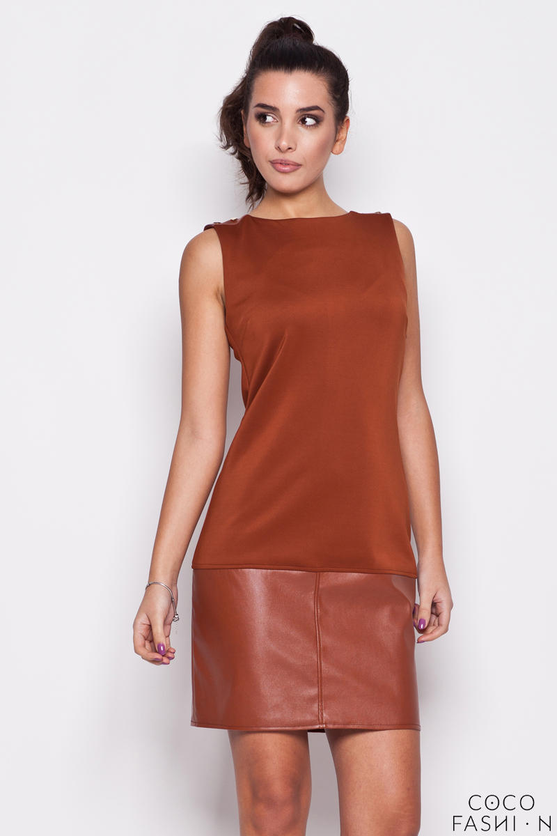 Brown Leather Hemline Sleeveless Shift Dress
