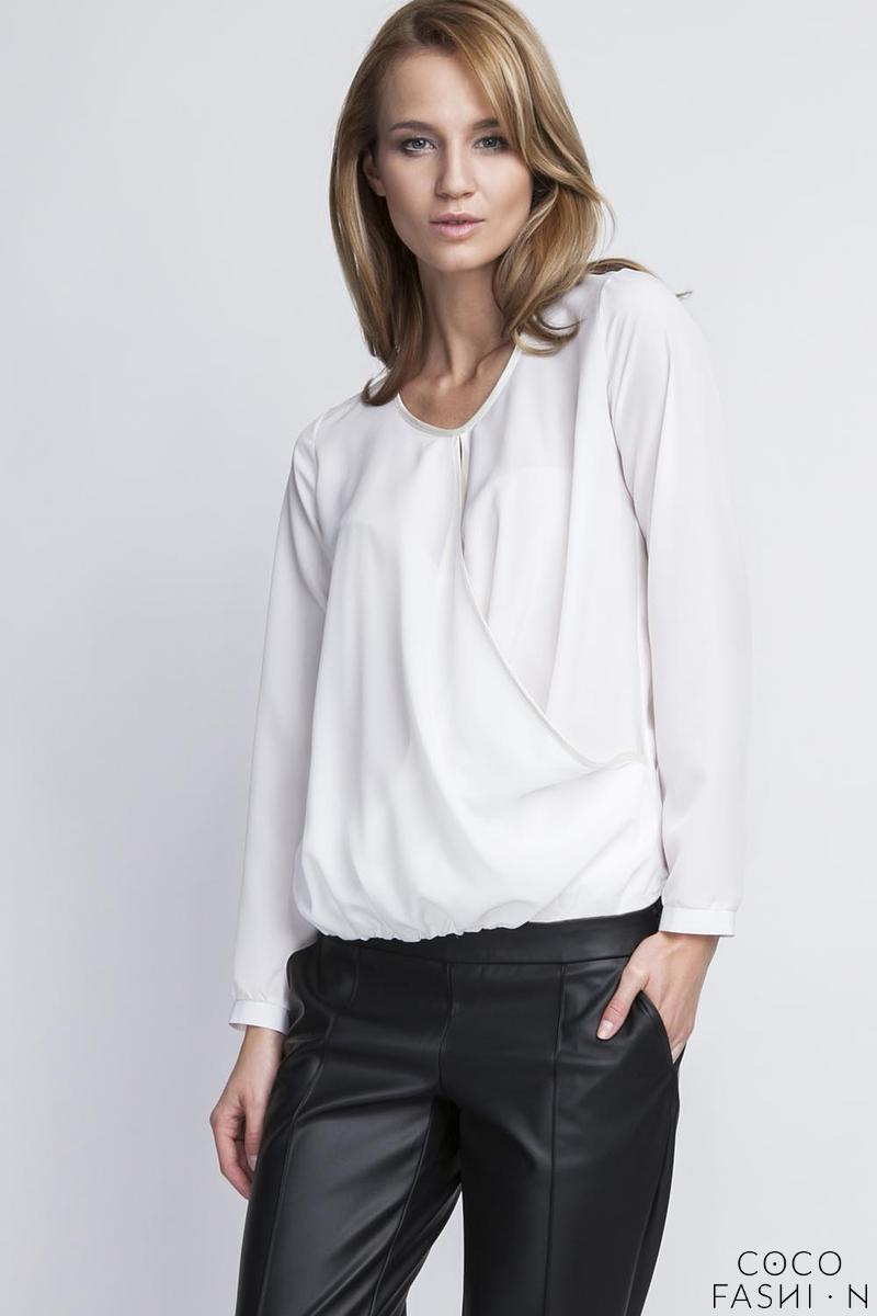 White Elegant Wrap Front Long Sleeves Blouse