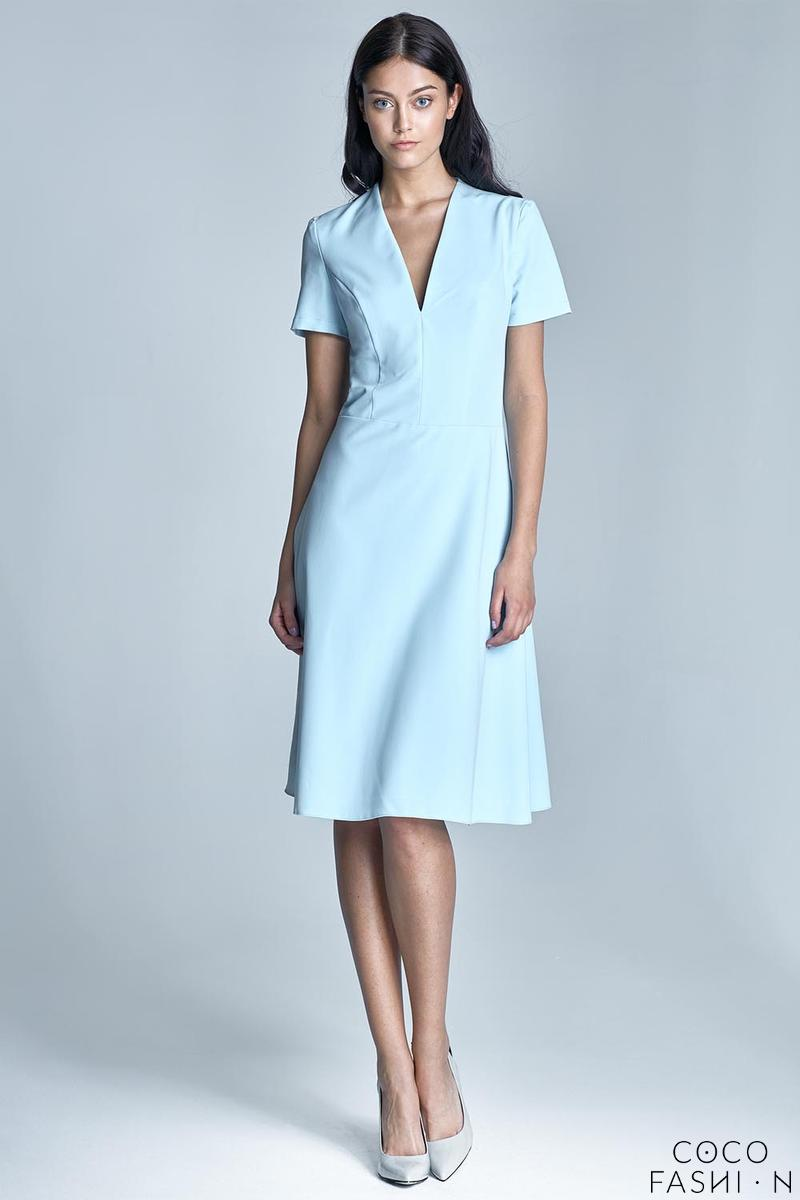 Light Blue Elegant V-Neck Midi Dress