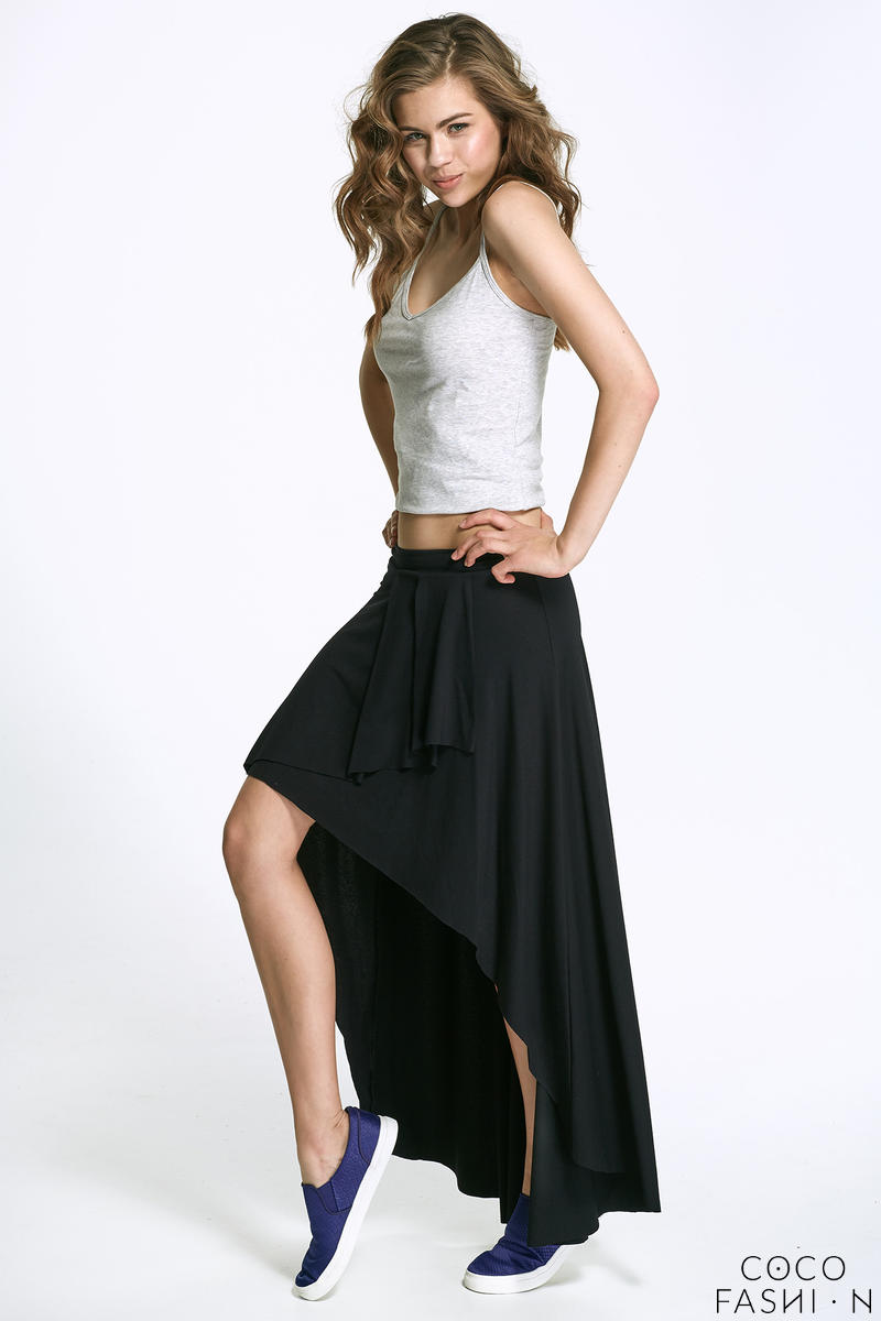Black Asymetrical Maxi Frilled Skirt