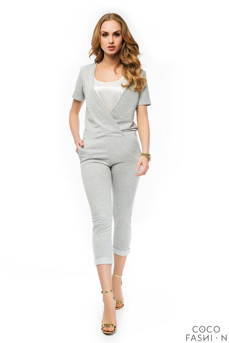 Grey Slim Legs Short Sleeves Ladies Jumpsuit