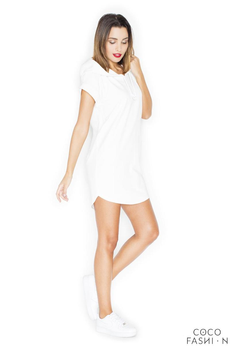 Ecru Simple Sport Style Hooded Dress