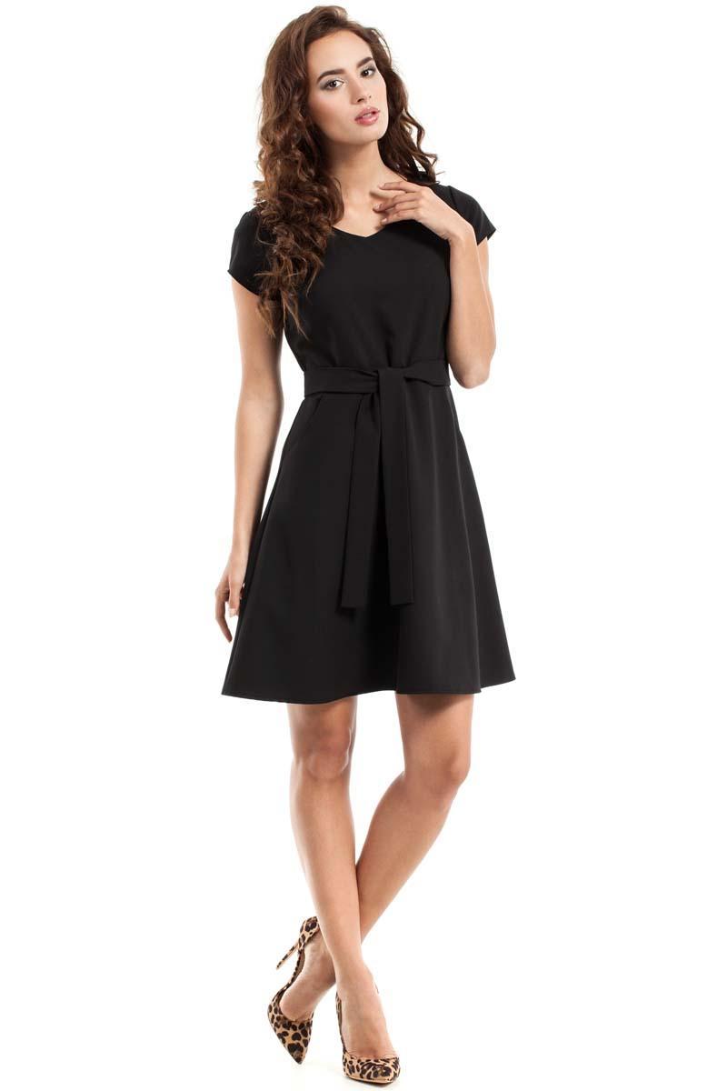 black sleeves belted mini dress