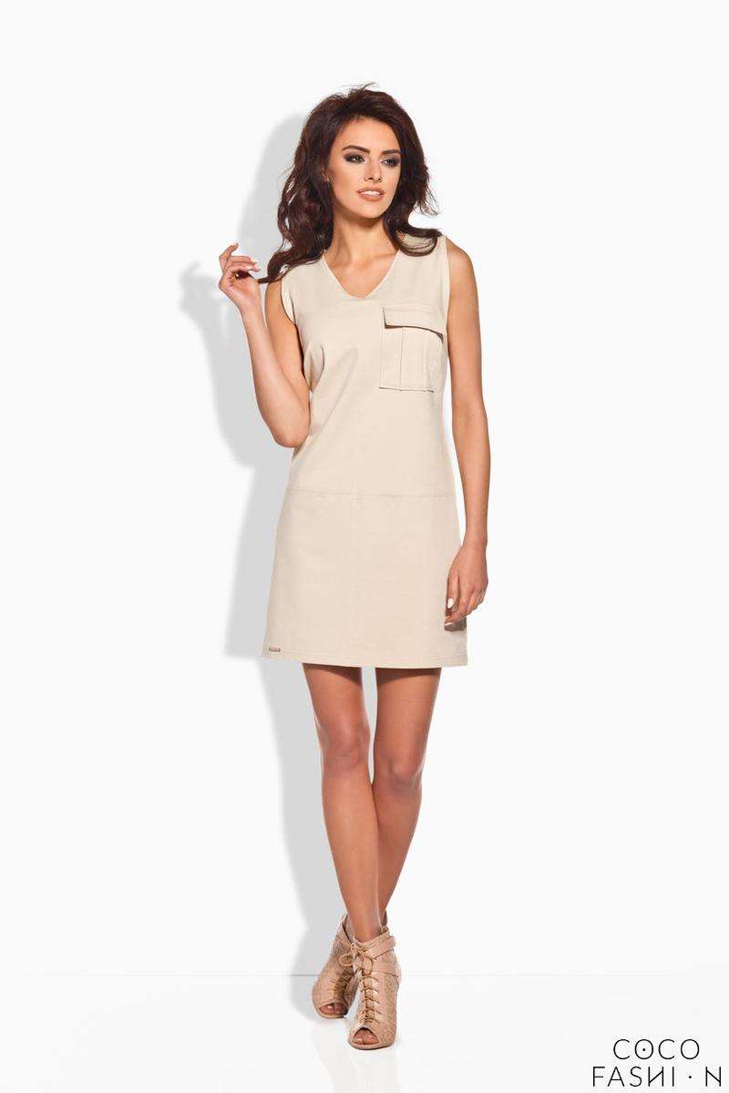 Beige Sporty Casual Style Dress With Pocket