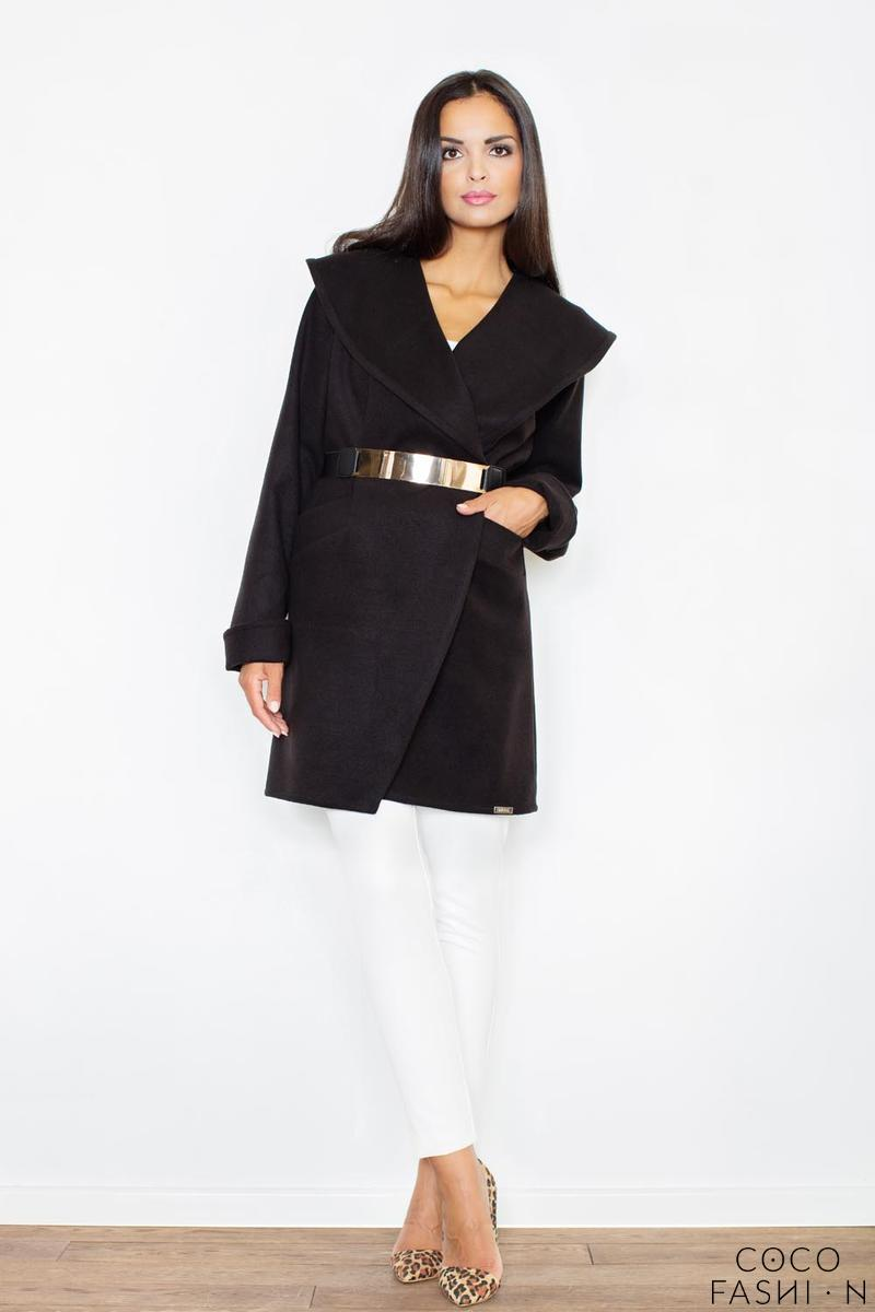 black-big-collar-short-coat-with-gold-belt