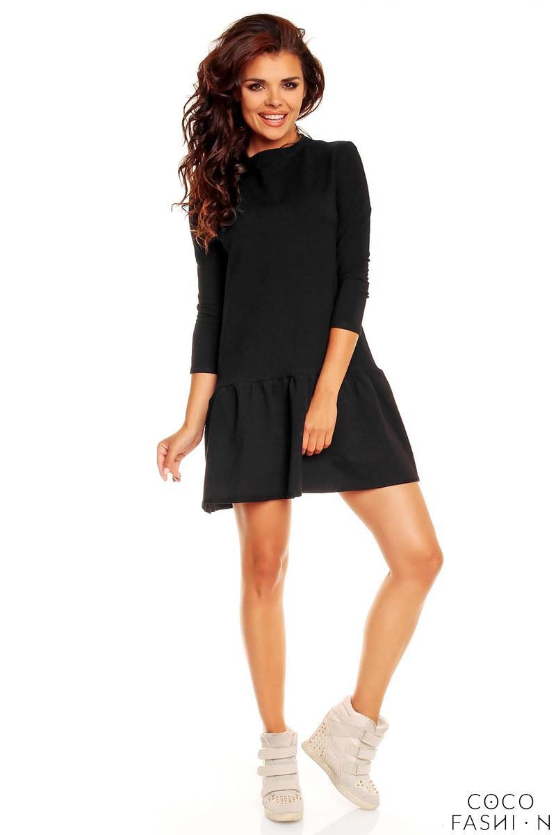 black-long-sleeves-sporty-smock-dress