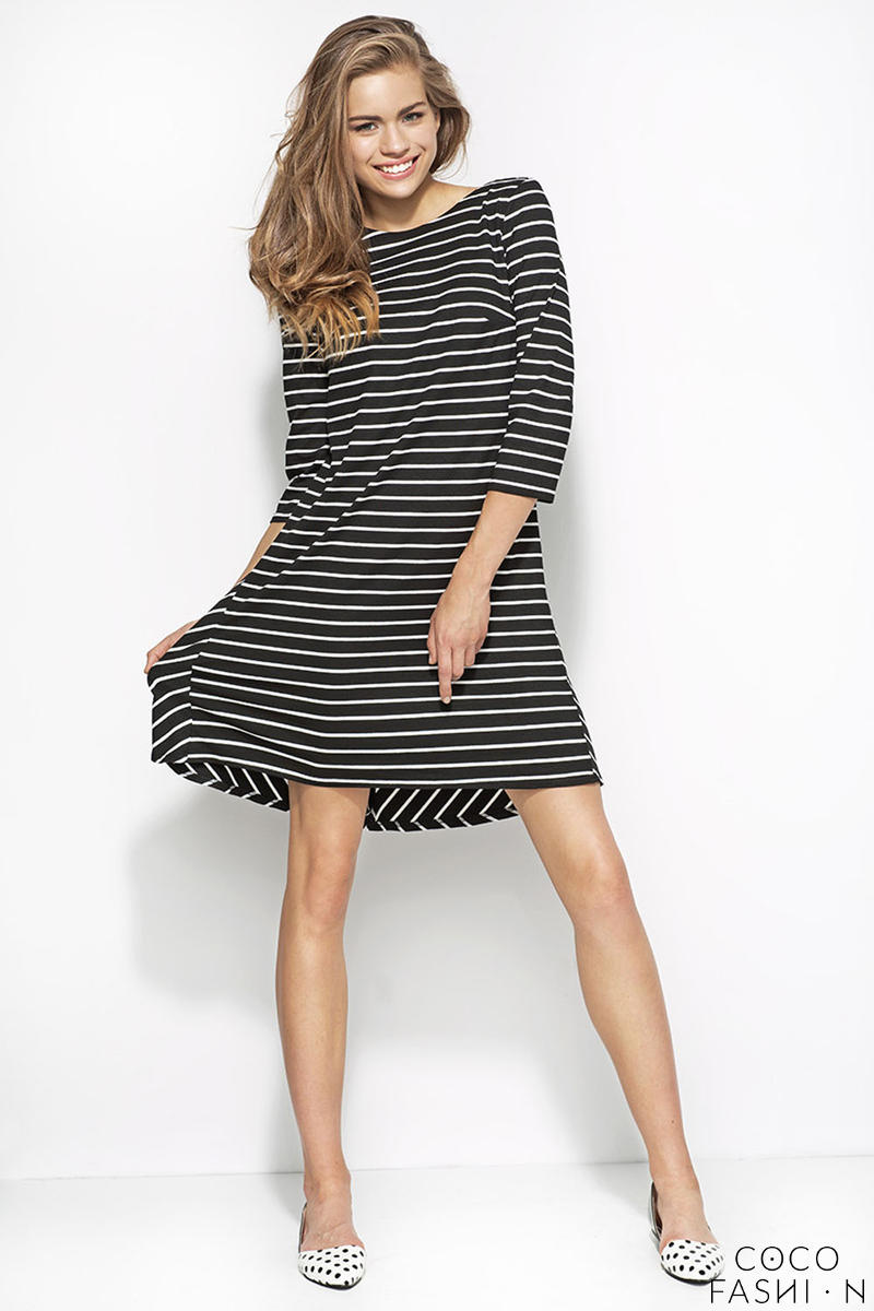Black Patterned Striped Dress with Elbow Length Sleeves
