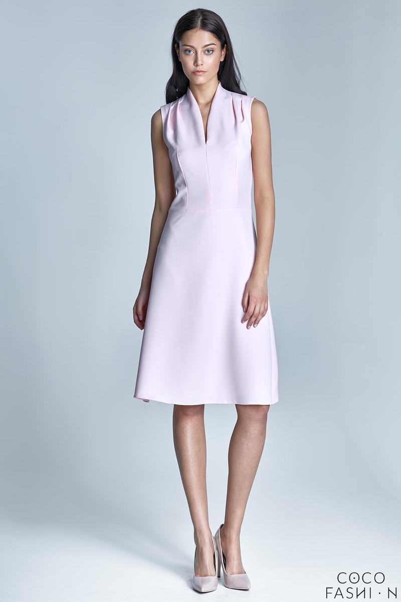 Pink V-Neckline Midi Dress