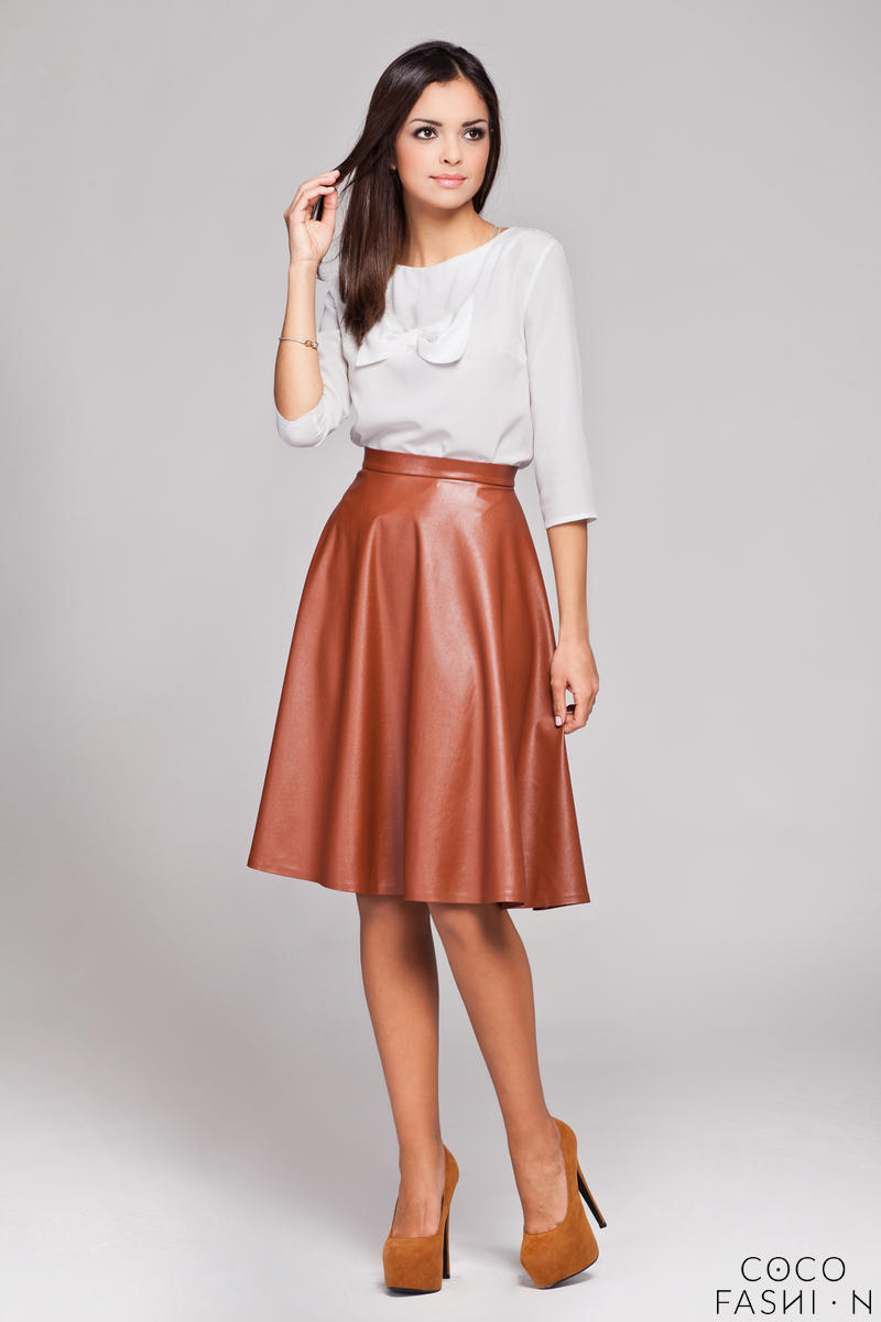 brown-leather-flared-knee-length-skirt