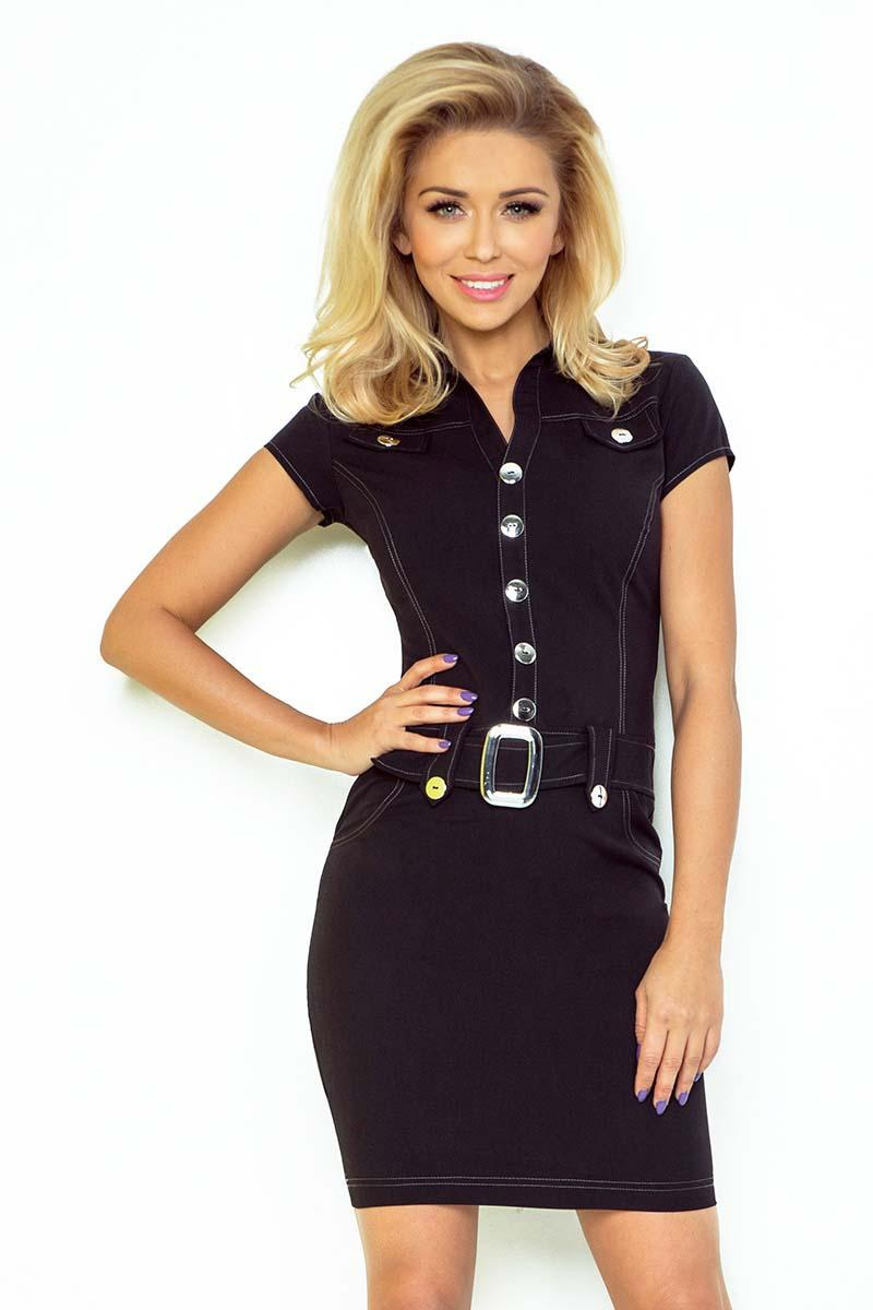Black Buttons Closure Belted Dress