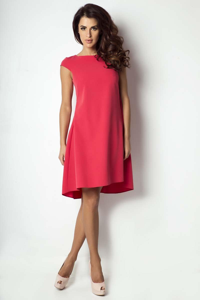 Raspberry Red Dipped Hem Dress