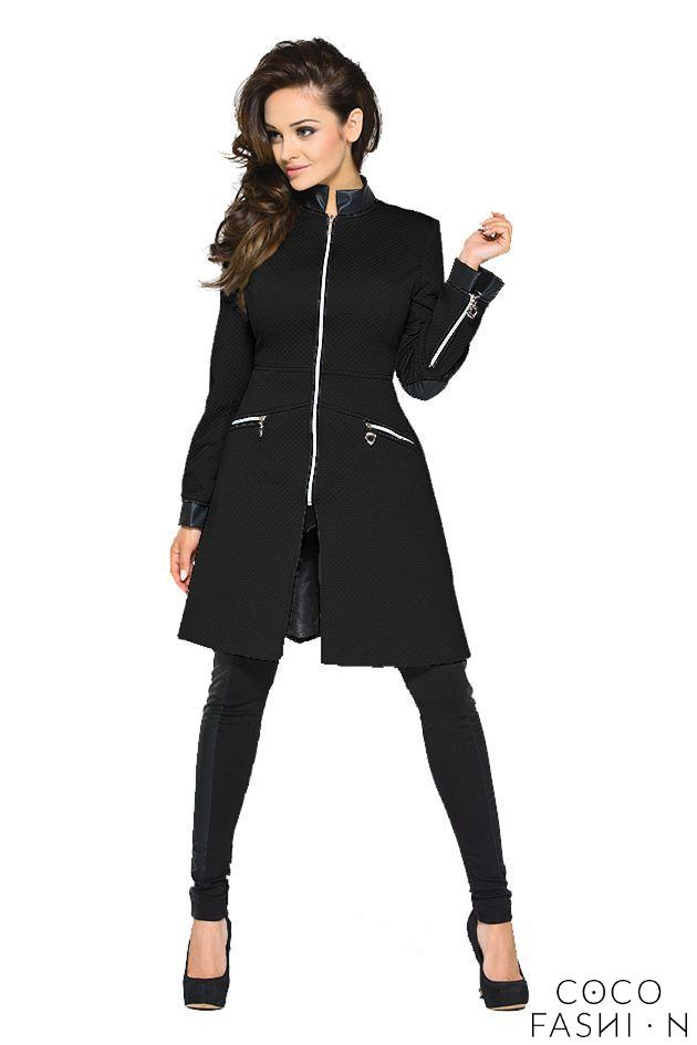 Black Zipper Closure Leather Details Spring Coat