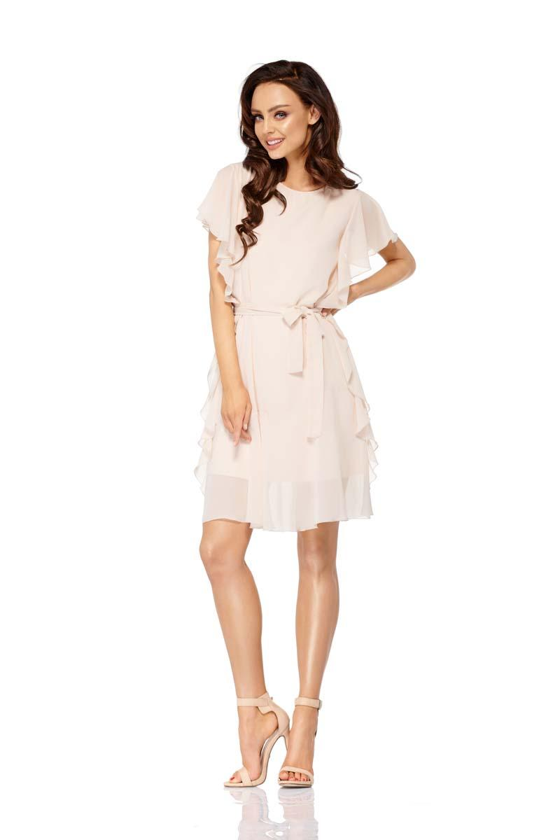 Beige Airy Dress with Frills Tied Stripe