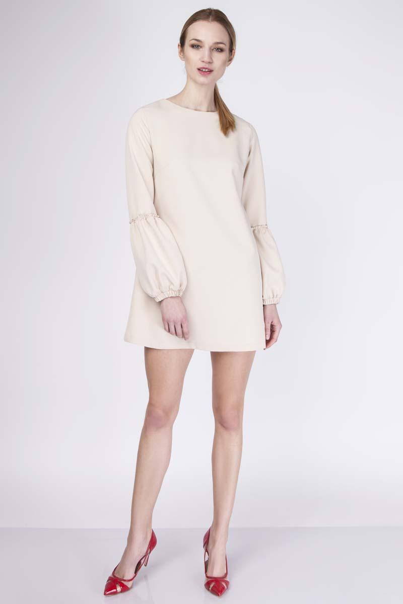 Beige Mini Flared Dress with Long Sleeves