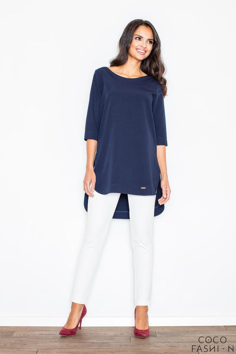 Dark Blue Simple Office Style Long Blouse-Tunic