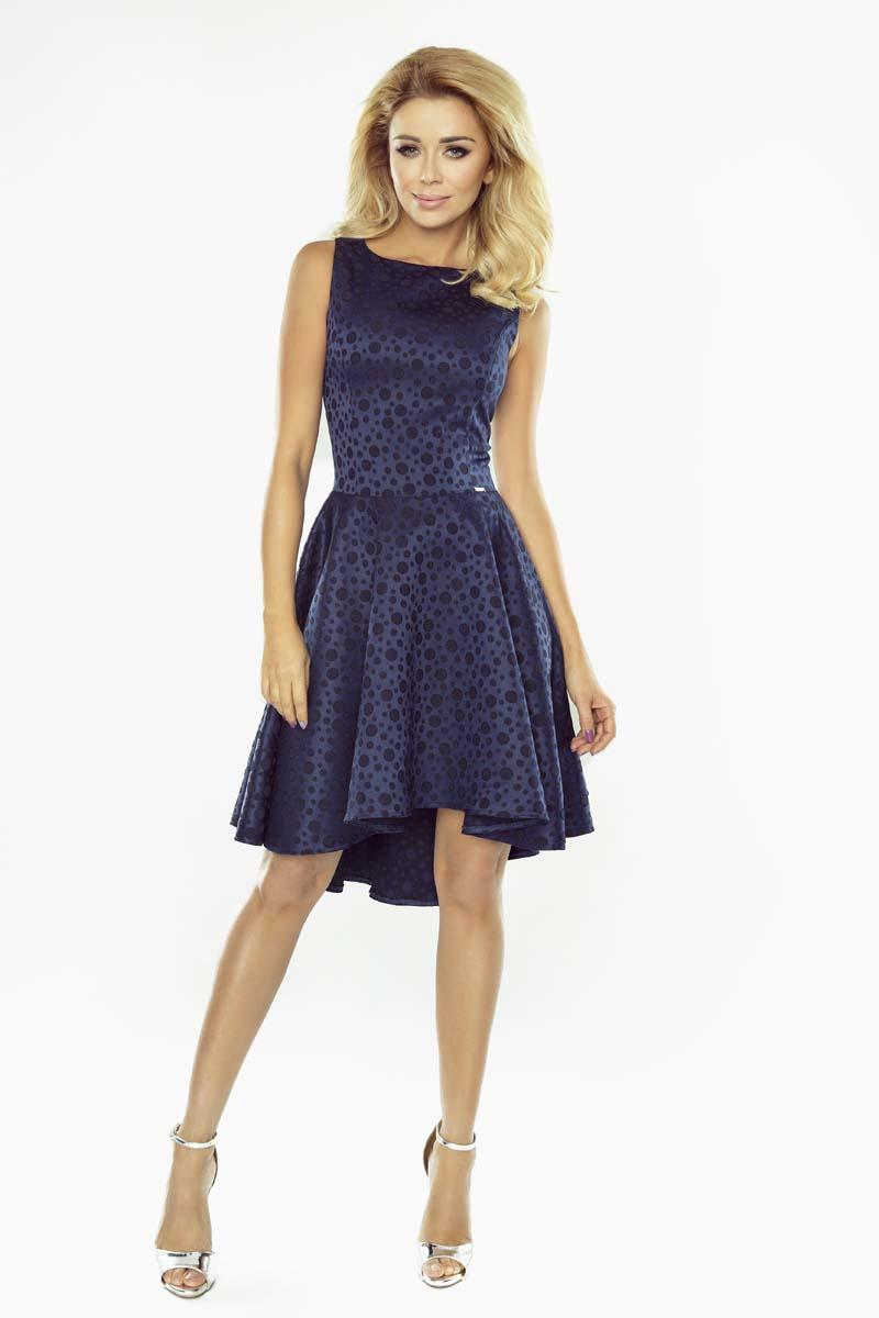 Dark Blue Coctail Dress with Dipped Hem
