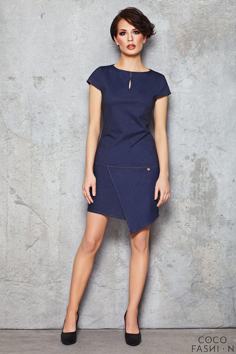 Dark Blue Denim Asymmetrical Hemline Seam Dress
