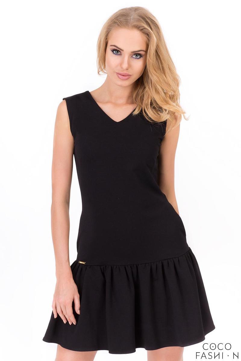 Black Summer Style Frilled Sleeveless Mini Dress от cocofashion