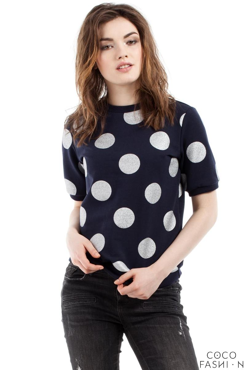 Dark Blue Polka Dott Short Sleeves Blouse