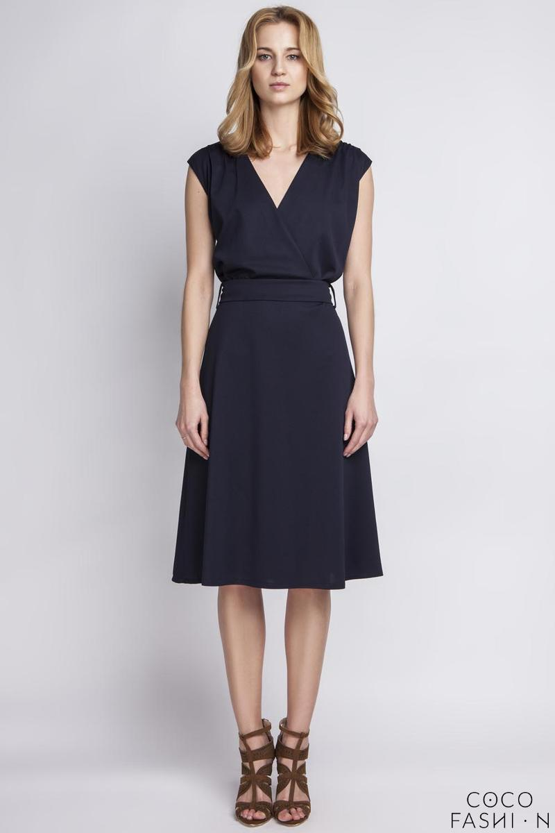 Dark blue Wrap Collar Midi Dress