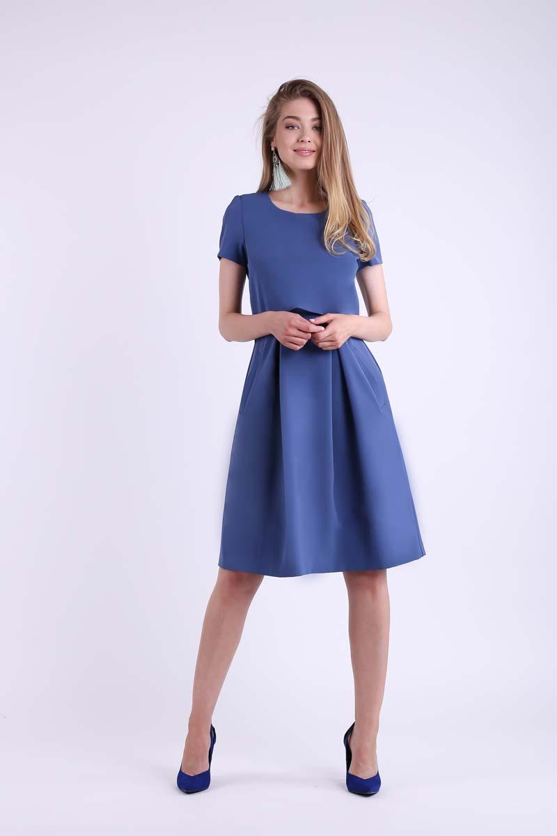 Formal flared denim dress with overlay
