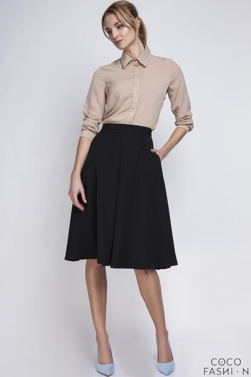 Black Retro Style Midi Lenght Skirt with Double Fold
