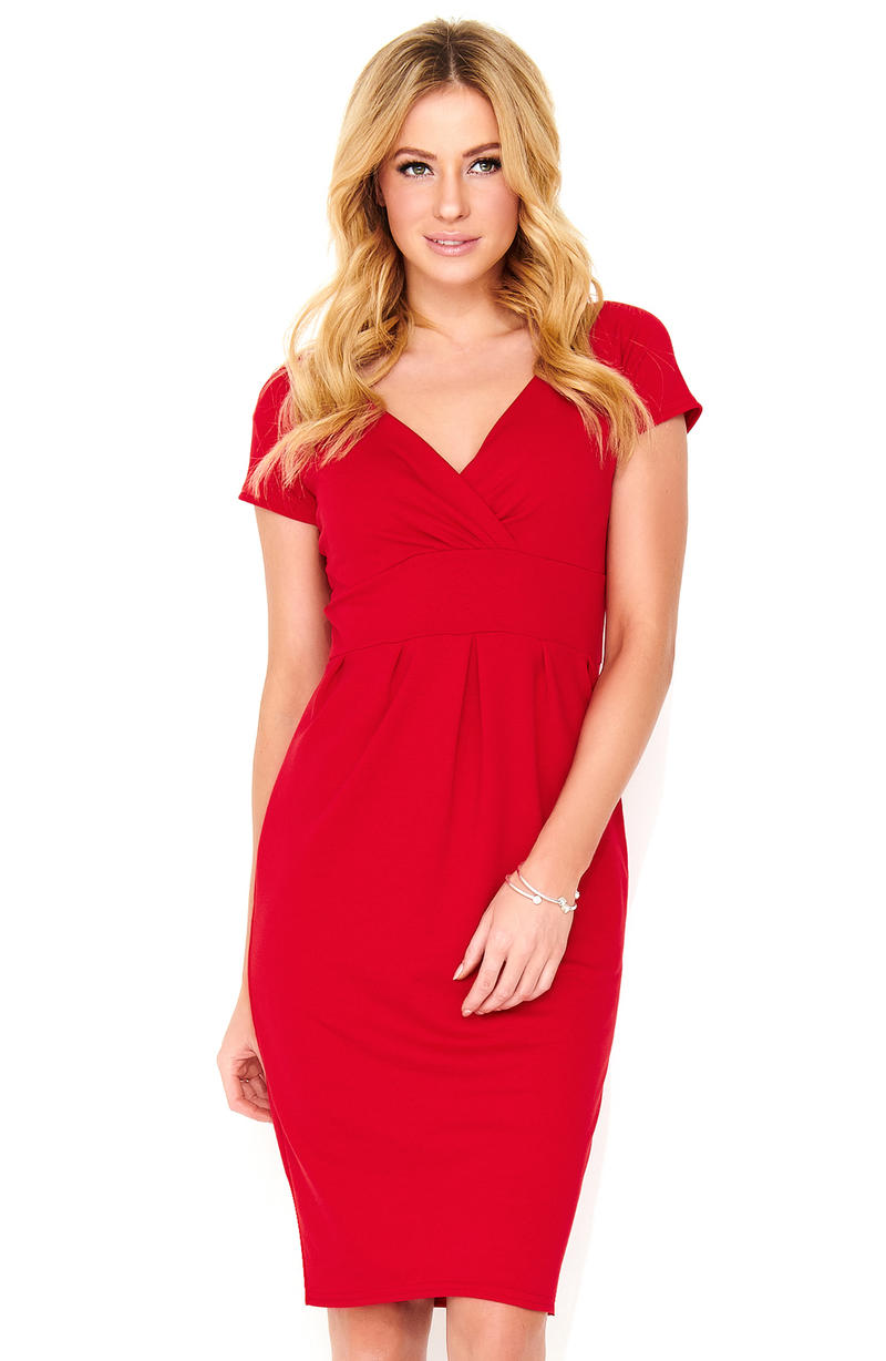 Red V-neck Mini Dress