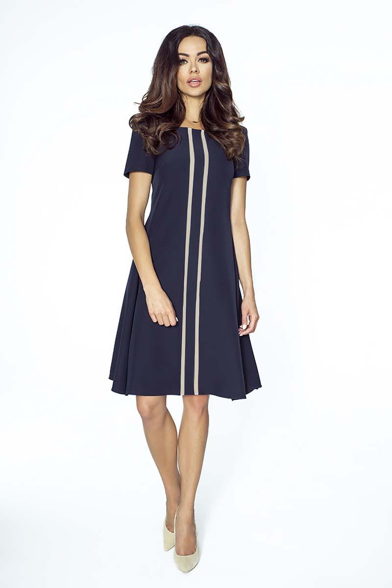 Dark Blue Flared Dress with Contrasting Stripes