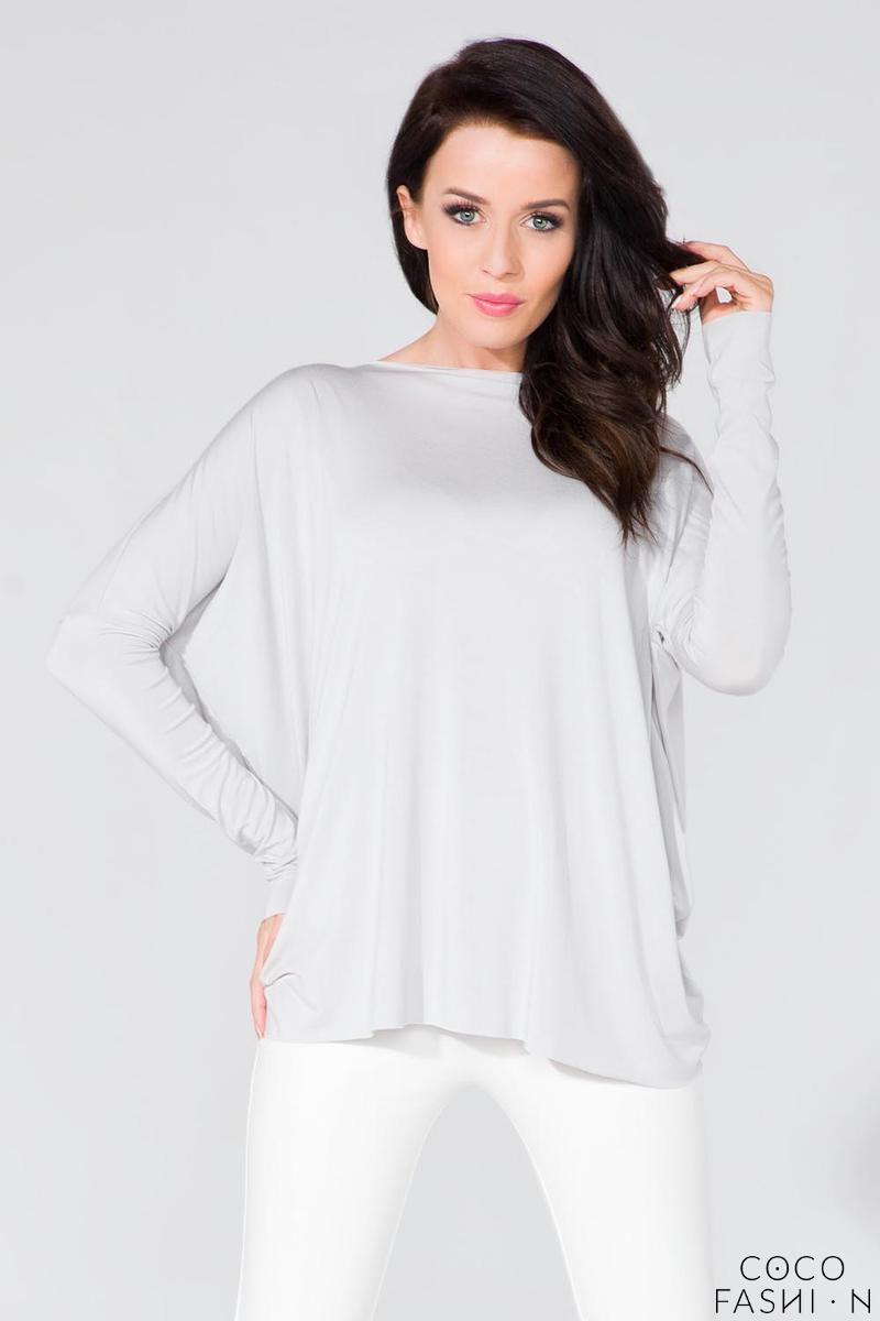 Light Grey Loose Deep Back Cut-ot Blouse