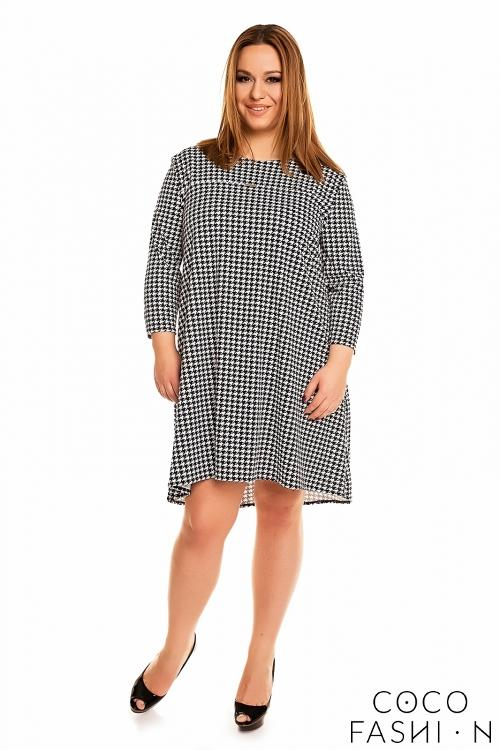 Houndstooth 34 Sleeves Swing Dress Plus Size