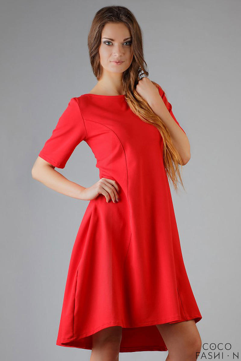 Lake Red High Fad Dress with Dipped Hem